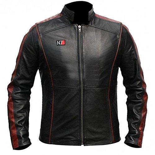 N7 Mass Effect Commander Shepard Kostüm stylische Sammler Echtleder Jacke Gr. XL, Schwarz
