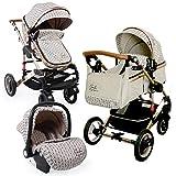 Carro bebé 3en1, capazo + silla de paseo + silla de coche + accesorio. Desde el nacimiento hasta los 3 años. Gala BBtwin (beige estampado)