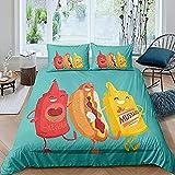 Fundas De Edredón Queen Size Juegos Edredón Tema Comida Hot Dog Friends Funda Nórdica Teens Youngs Happy Hot Dogs Brother Juegos Cama 3 Piezas
