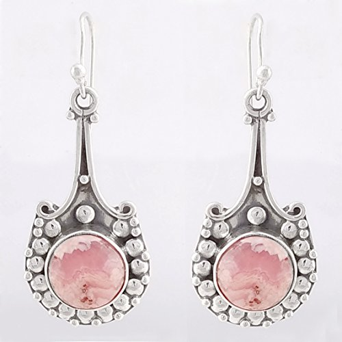 Pink Rhodochrosite Designer 925 Sterling Silver Earrings, Handmade Jewelry for Women, Sterling Silver Earrings