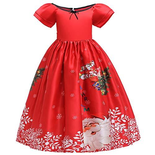 KUDICO Robe De Princesse Fille Ceremonie Robe Noël Imprimé en Dentelle Robe Tutu Manche Court De Noël Carnaval 4-15Ans