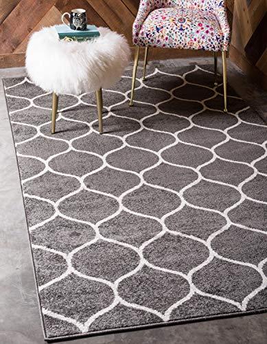 Unique Loom Trellis Frieze Collection Lattice Moroccan Geometric Modern Dark Gray Area Rug (5' 0 x 8' 0)