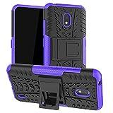 LiuShan Kompatibel mit Nokia 2.2 Hülle, Dual Layer Hybrid Handyhülle Drop Resistance Handys Schutz Hülle mit Ständer für Nokia 2.2 (2019) Smartphone(mit 4in1 Geschenk verpackt),Lila