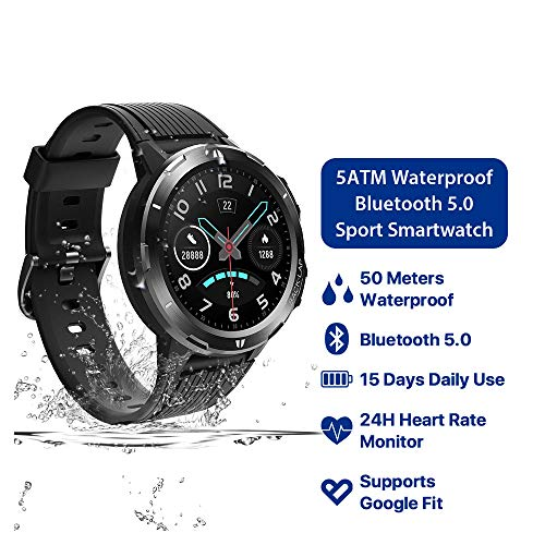 ZZJ Smart Watch 5 ATM wasserdichte All-Day Herzfrequenz Activity Tracking Schlaf-Monitor Ultralang Battrey Android Ios