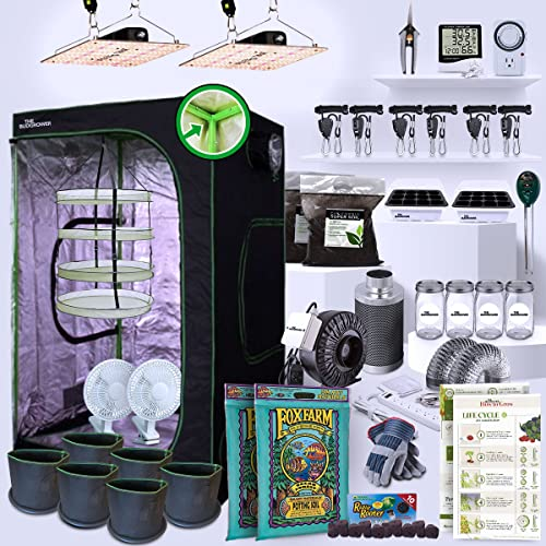TheBudGrower 48' x 48' x 80' Complete Grow Tent Kit - 1200 Watt LED Grow Light, Rope Hangers, Grow Plant Pot Soil, Heat & Humidity Monitor, Electronic Timer & More - Easy Indoor Setup Grow Kits