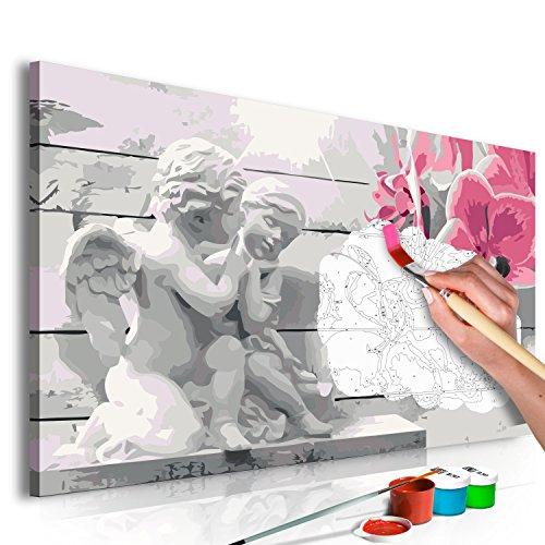 murando - Malen nach Zahlen Engel & Blumen 60x40 cm Malset mit Holzrahmen auf Leinwand für Erwachsene Kinder Gemälde Handgemalt Kit DIY Geschenk Dekoration n-A-0273-d-a