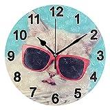 FULUHUAPIN Reloj de pared de gato lindo para baño, cocina, reloj de pared para niña niño sin tictac, silencioso, fácil de leer para decoración de dormitorio 22.5 cm, reloj redondo 20300812