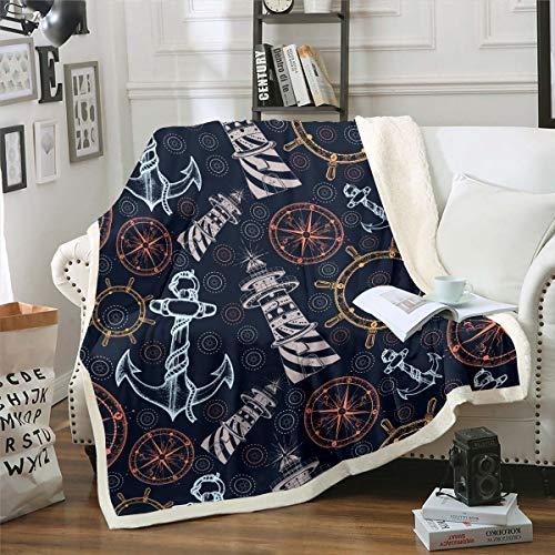 Loussiesd Manta de felpa con estampado de brújula, manta de ancla náutica Ocean Voyage Fleece Sherpa para silla, sofá, aventura en el mar, decoración de habitación ultra suave, 127 x 152 cm reversible