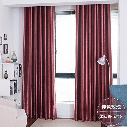QPGGP- Curtain Rideaux l'ombre De Couleur Rose Pur Tissu Chambre Moderne Rideau Chinois Simplifié Style Ombre Complète,E,100 x 270 CM (W x H) x 2