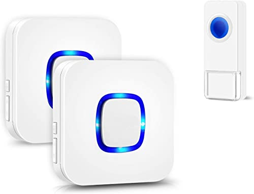 Coolqiya Wireless Doorbell Chime for Home with 1 Remote Waterproof Door Bell and 2 Plugin Receivers, 1000 Feet Long R...