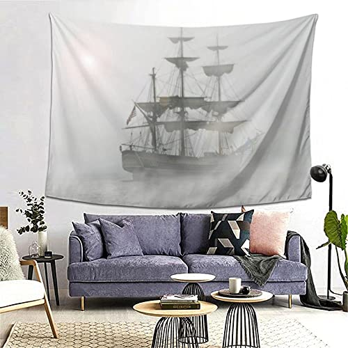 Tapiz Tapestry Wall Hanging Bedding Tapestry,Gray Fog Pirate Ship,Beach Throw Tapestry Table Cover Curtain Home Decoration Wall Art Bedroom Dorm Decor