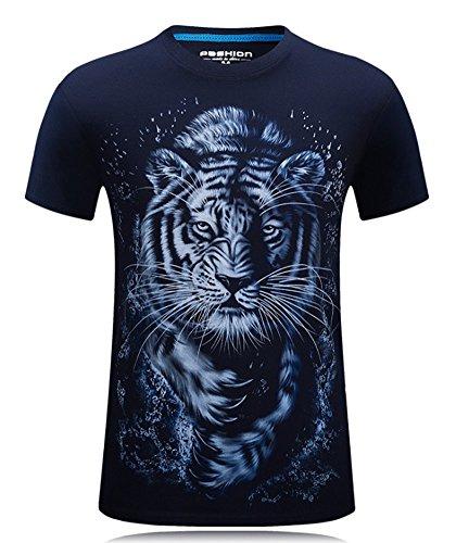Angcoco Men's Short Sleeve Professional 3D Digital Print T Shirts Tiger