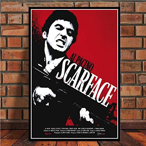 Frameloos AL PACINO SCARFACE Gangster filmposter Canvas schilderij muur foto voor Home Decor posters en prints <> 60x75cm