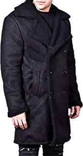 Mens Winter Faux Fur Sherpa Lined Double Breasted Lapel Collar Warm Suede Pea Coats Trenchcoats