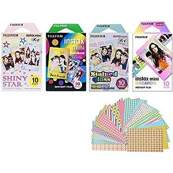Fujifilm Instax Mini Instant Film 4-PACK BUNDLE SET , Shiny Star , Rainbow , Stained Glass , Macaron , Stickers for 90 70 7s 50s 25 300 Camera