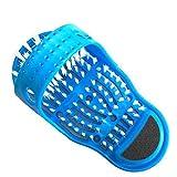 Hdsjakl Comfortable Wonderlife Plastic Bath Shower Massage Slippers Shoe Foot Washer Remove Dead Skin Foot Care Tool (Color : Blue)