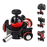 3-Wheels Wirelesss Camera Video Auto Dolly, LENSGO-L8X 6 Speed Adjustable Motorized Electric Track Rail Slider Dolly Photography Car with Wireless Remote & 1/4' Ballhead for DSLR Camera Smartphone
