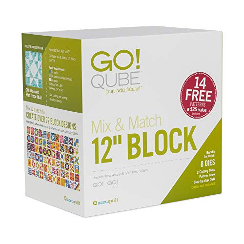 """AccuQuilt GO! Qube Mix & Match 12"""" Block with GO! Square-6 ½"""" (6"""" Finished), GO! Square-3 ½"""" (3"""" Finished), GO! Half Square Triangle-6"""" Finished Square and More."""