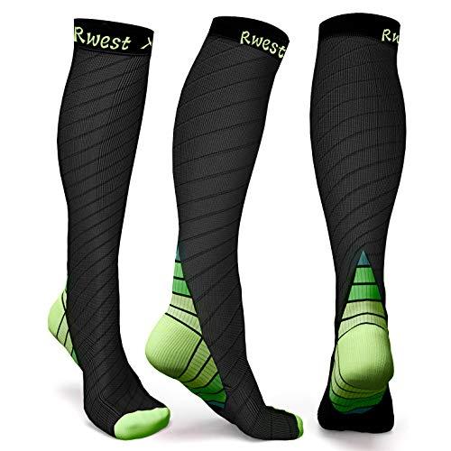 Rwest X Calze a Compressione Graduata per Uomo E Donna capacità di Resistenza, Migliora Le Prestazioni per Sport, Corsa, Escursioni, Giri in Bici, Viaggi in Aereo