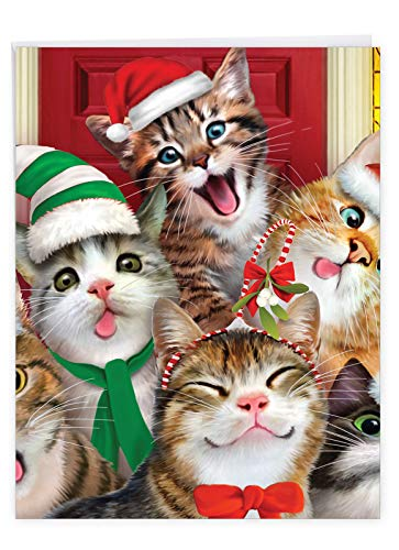 The Best Card Company - Big Group Christmas Card (8.5 x 11 Inch) - Fun Animals, Festive Holiday Greeting Card from All of Us - Merry Christmas to Zoo Cats J6652HXSG-US