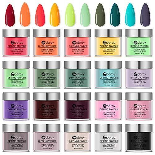 Huanchenda Dip Pulver Nagel Kit 20 Farben 10g/ flasche Acryl Puder Nail für Maniküre Nail Art Keine UV/LED Nagellampe Erforderlich(Nicht enthaltenes flüssiges Tauchpulver)