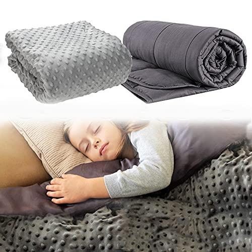 Lueigmo Gewichtsdecke 122x183 cm 7 kg,Bezug aus Baumwolle,5 Schichten-Therapiedecke schwere Bettdecke - Beschwerte Decke Dukelgrau