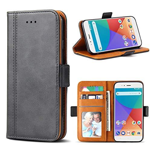 Bozon Xiaomi Mi A1/ 5X Hülle, Leder Tasche Handyhülle für Xiaomi Mi A1 (5X) Flip Wallet Schutzhülle mit Ständer & Kartenfächer/Magnetverschluss (Dunkel-Grau)