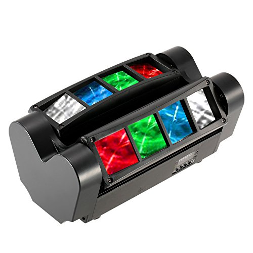 Docooler Moving Head LEDs Lichteffekt DMX512-Ton aktivierte Auto Lauf Mini Spinne Bühne Beam Licht Headed bewegen Drehbare Effektleuchte mit Signalleitung für Disco KTV Club Party