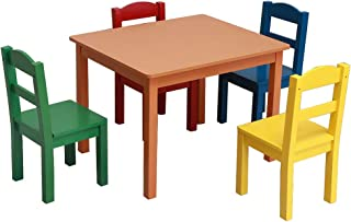 Vantiorango Kids Wood Table and 4 Chairs Set, Multi-Color(Red, Blue, Yellow, Green), Toddlers Table