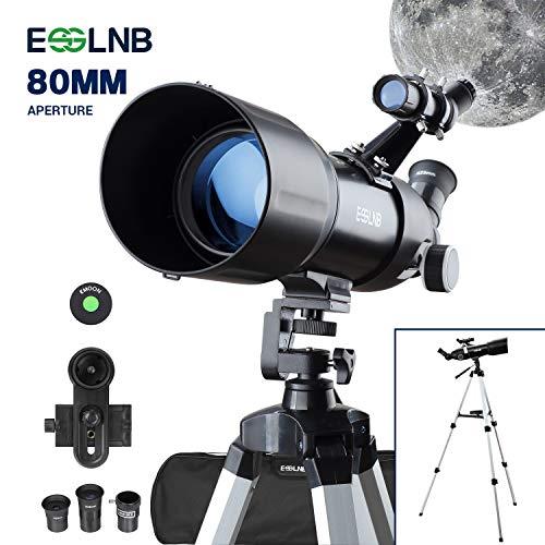 ESSLNB Teleskop Einsteiger 80/400 Fernrohr Teleskop für Kinder Erwachsene mit 10x Smartphone Adapter Ausziehbares Stativ Tasche und Mondfilter