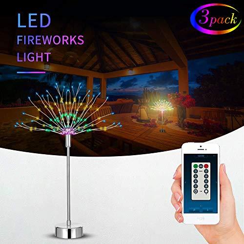 Feuerwerk Licht 120 LED Lichter Batteriebetriebene Fernbedienung in APP DIY Dekorations Lichterkette 8 Modi Lichteffekt für Indoor Outdoor Weihnachtsfeier (Warmes Weiß + Farbig 3 Stück)