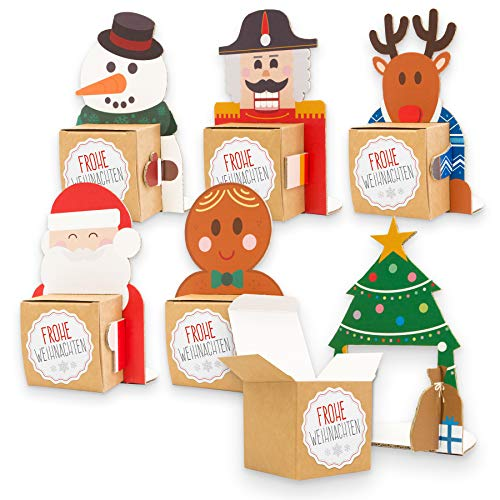 itenga Geschenkverpackung Weihnachtsbande Schneemann Nikolaus Lebkuchenmann Nussknacker Rentier Tannenbaum - Figurenaufsteller mit Stickern und Karten