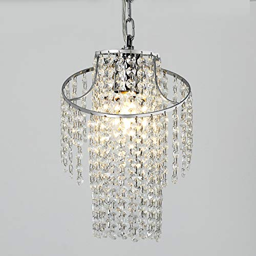 Mini Crystal Chandelier Modern Pendant Light Fixture Chrome Finish, 8.27in.1-Light Pendant Ceiling Lighting, Tiered Hanging Lamp Height Adjustable for Vaulted Loft, Flat, Apartment