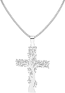 COMTRUDE Tree of Life Necklace Stainless Steel Tree of Life Cross Pendant Family Tree Jewelry for Women Gifts