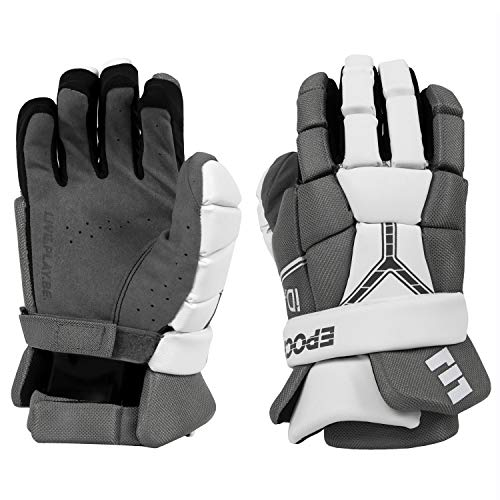 Epoch iD Jr. Youth Lacrosse Gloves, 4.0-5.0 Inches (10 cm -12.5 cm) with Dual Density Foam, White