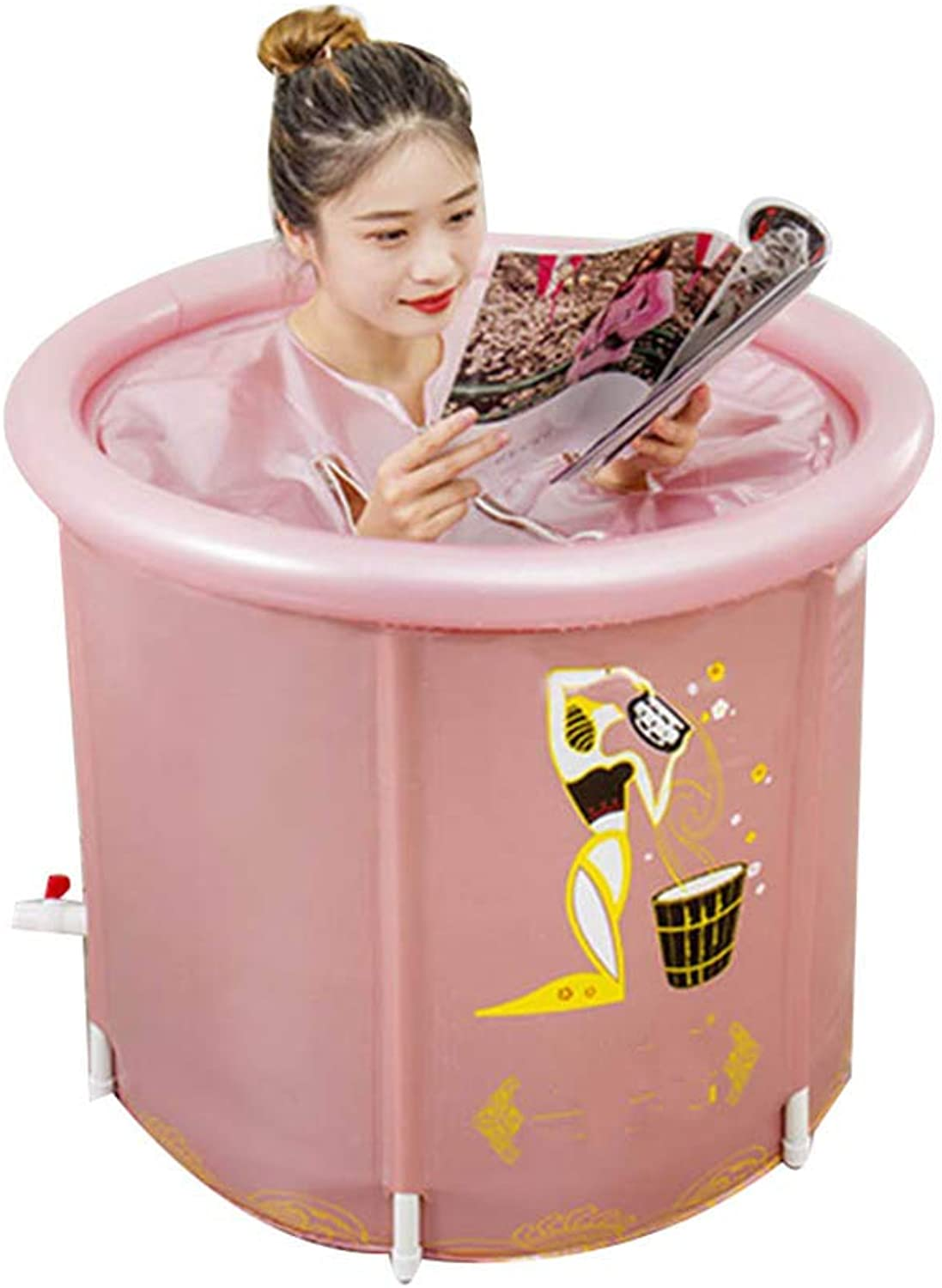 Bathtub Adult, folding insulated bath tub with lid, large-capacity portable bath separate, thick PVC bath barrel (pink) 70  70cm