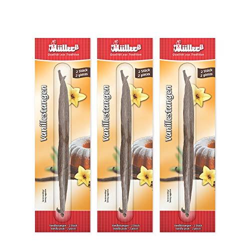 Müllers Bourbon Vanillestangen 6 Stangen im 3er Pack, 3 x 2 St. Premium Vanilleschoten aus Madagaskar, 2 Stangen je ca. 9 -15 cm in einer Glasphiole