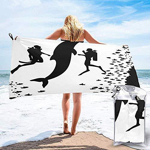 Schnell trocknendes Strandreisetuch, Zwei Taucher und Riesenfisch-Silhouette Schwimmen in der Nähe des Riffs Einfarbiges Badetuch 160X80 cm