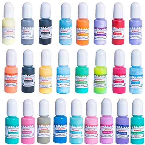MISHITI 24 Couleurs époxy résine UV Pigment Opaque Liquide époxy résine UV Colorant Colorant résine