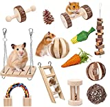 Bojafa Hamster Chew Toys, Hamster Toys Syrian Guinea Pig Toys Natural Wooden 13-Pack Teeth Care Molar Chewing Exercise- Degu, Gerbil, Chinchilla, Dutch Pigs, Rat Toys