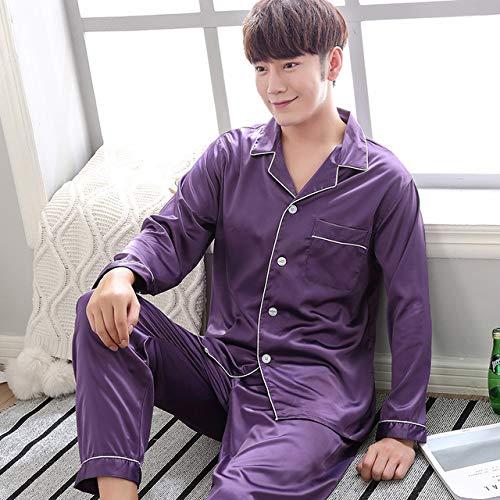 SDJYH Silk Satin Couples Pyjamas Set für Frauen Männer Langarm Nachtwäsche Pyjamas Anzug Home Kleidung Seine und Ihre Kleidung Pyjamas