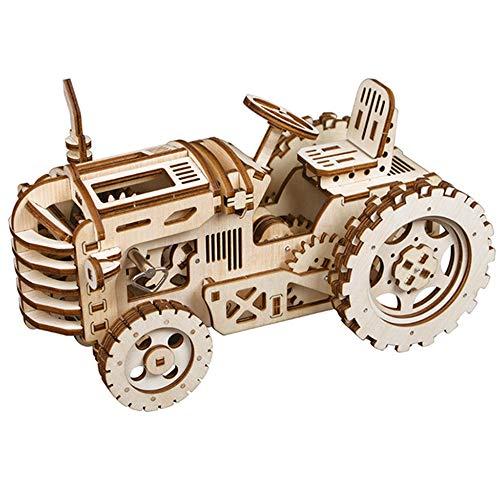 AKBQ Rompecabezas De Madera 3D - Los Kits Modelo De Escritorio del Corte del Laser Mecánicos Tractor Maquetas, Regalos De Cumpleaños para Niños Y Adultos - 136Pcs Jigsaw, Luz