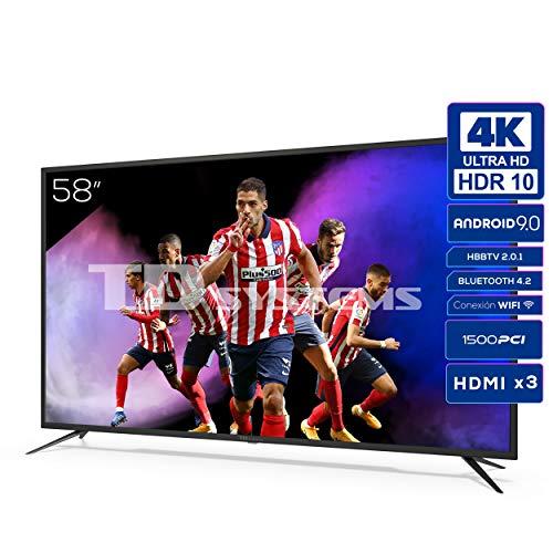 TD Systems K58DLJ12US - Televisores Smart TV 58 Pulgadas 4k UHD Android 9.0 y HBBTV, 1500 PCI Hz, 3X HDMI, 2X USB. DVB-T2 C S2, Modo Hotel. Televisiones