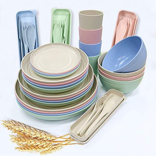 Juego de vajilla de paja de trigo de 28 piezas, platos ligeros, tazas, cuchara y tenedor, juego de vajilla irrompible para picnic, fiesta, barbacoa, boda, camping (28 piezas)