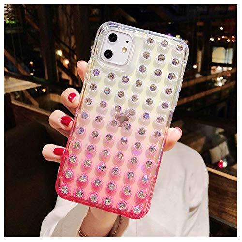 QfireQ Funda Diamantes Brillo para iPhone 11 Pro MAX / 11 Pro / 11 con Cuerpo Completo 3D Funda Protección de Gradiente Diamantes Imitación Cristal Brillante, Rosado,X
