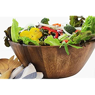 Large Wooden Premium Acacia Wood Salad Bowl 12 inches