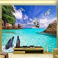 写真の壁紙3D立体空間カスタム大規模な壁紙の壁紙 風光明媚なイルカの壁の装飾リビングルームの寝室の壁紙の壁の壁画の壁紙テレビのソファの背景家の装飾壁画-280X200cm