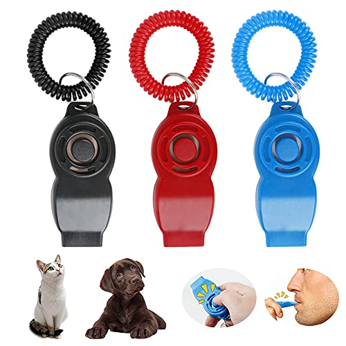 WeChip Hundepfeife/Hunde Clicker 2 in 1,Klicker mit Großem Knopf und schlüsselband,3 Stück Hundepfeife/Hunde Klicker für Hundetraining Hundeerziehung und für Katzen Pferde.