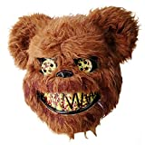 Halloween Scary Mask Bear Mask, Bloody Plush Animal Head Mask, Halloween Cosplay Costume Props Halloween Party for Adults and Teens (Brown)