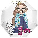 Cute Cat Girl Folgen Sie Ihren Träumen Auto Open Umbrella Sun Regen Regenschirm Anti UV Folding...